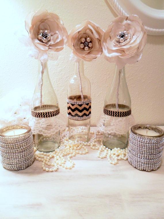 Floral centerpiece wedding vases flowers in bottles bottle