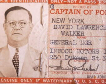 Original 1940's Obsolete Captain Of Port USCG Employee ID With Photo - Free Shipping