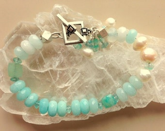Aqua Aventurine, Apatite, Agate, Chrysoprase And Freshwater Pearl Bracelet - Aqua Color Gemstones Bracelet