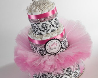Diaper Cake - Diaper Cakes - Little Princess Diaper Cake - Baby Gift - Baby Shower Decor - Baby Tutu - Princess Baby Shower
