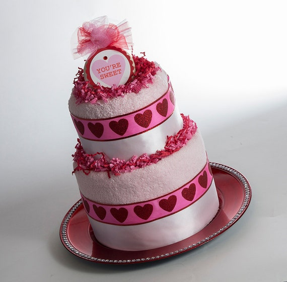 """The """"Sweet"""" Towel Cake. Valentine's Day Gift or Centerpiece."""