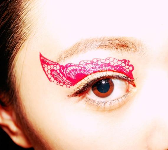 Temporary tattoo eye makeup eyeshadow pink lace bachelorette for Eye temporary tattoo makeup