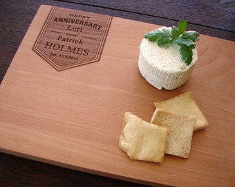 Personalized Anniversary Cutting Board Cheese Board Wedding Present Hostess Gift for Couples Kitchen Cuttingboard Retirement Coworker Gift