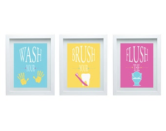 Bathroom Rules Boys or Girls Bathroom Wall Art Girl or Boy Bathroom Decor Wall Art Print Set of 3-8X10 Prints Choose Your Color