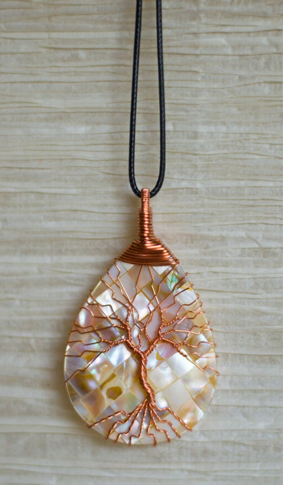 Shell Pendant Wire Wrapped Copper Tree Of Life Necklace