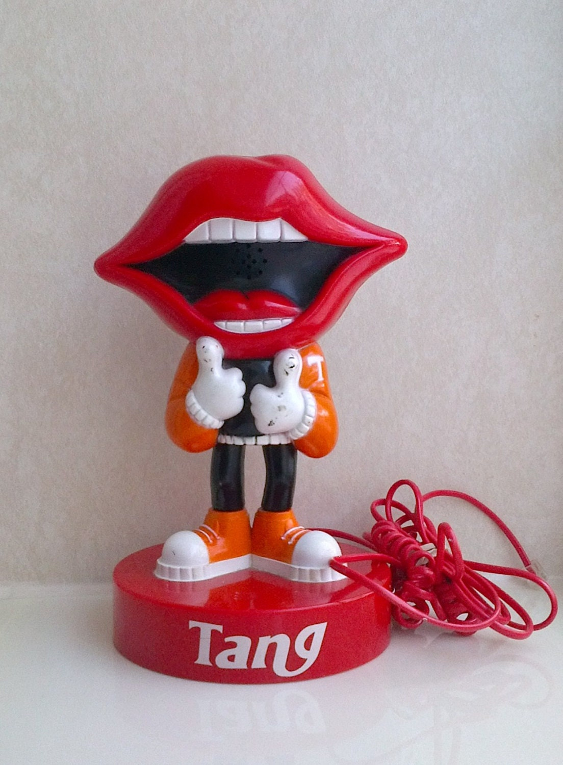 1980s Vintage Advertising Plastic Novelty Telephone Figure - Tang Powder Orange Juice Drink - Red Lips Mouth - Rare Mascot Push Button WORKS