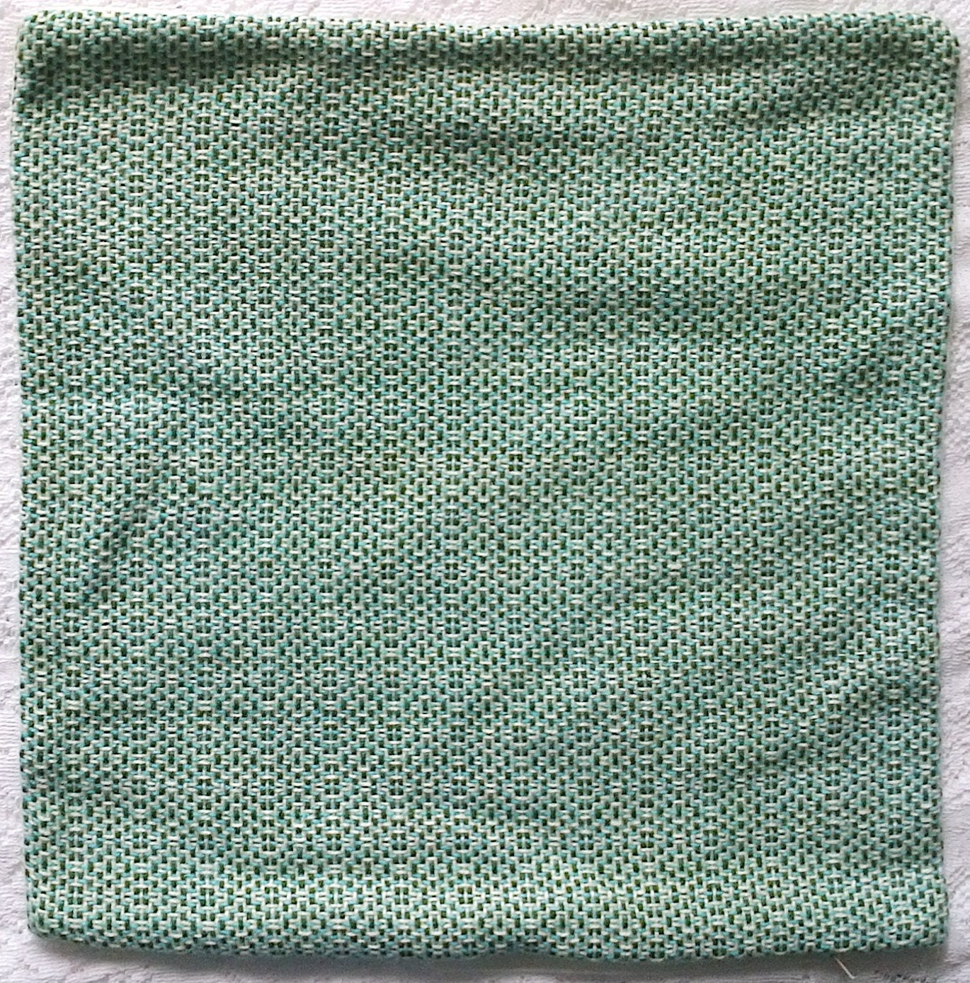 Indigo Ivory Turquoise Blue & Avocado Green Woven Large Square Pillow Cover - 18 X 18 - Acrylic and Linen