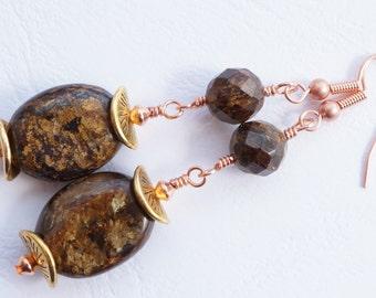 Brown earrings, bronzite earrings, mixed metal gemstone earrings, gemstone earrings, brown and gold earrings, long gemstone earrings