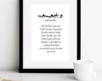 Namaste yoga print with Definition,Spiritual Quotes,Yoga Studio Art,yoga art,namaste art,black and white,yoga prints,namaste in black,ET158