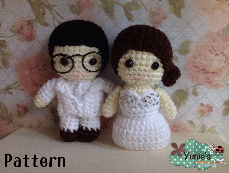 Crochet Pattern Amigurumi Dragon : Wedding Doll Crochet Pattern : Wedding amigurumi Couple Doll