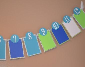 Newborn to 12 Months Photo Banner - Boy's Birthday Party - First Birthday