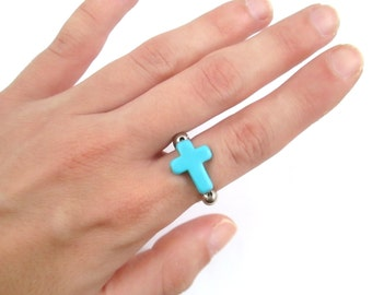 Sideways turquoise cross ring adjustable