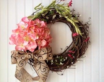 spring wreath, wreath, wreaths, hydrangea wreath, door wreath, front door wreath, pink wreath, wreath for door, summer wreath