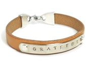 NEW LEATHER Personalized INSPIRATIONAL Silver Bracelet, you choose the color, Hand Stamped, Engraved Bracelet, Leather Bracelet, Monogrammed