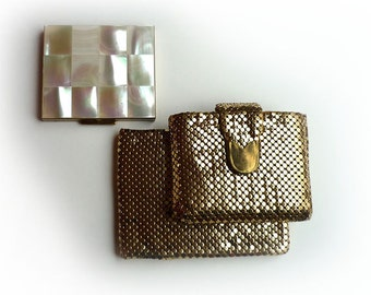 Vintage Wallet and Compact Set Whiting and Davis Gold Mesh Mother of Pearl 1949 to 1951