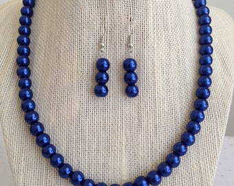 Cobalt Blue Pearl Necklace, Cobalt Blue Wedding, Cobalt Blue Bridesmaid Jewelry, Blue Wedding Jewelry, Bridesmaid Gift