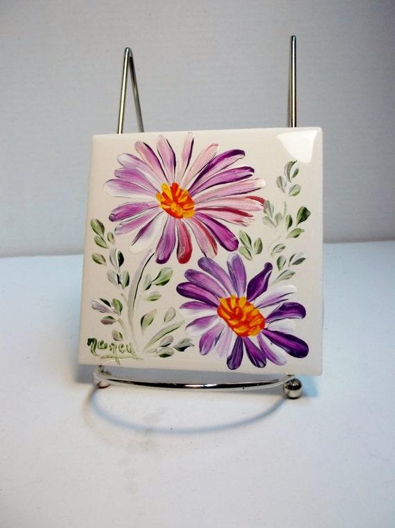Ceramic Tile White Hand Painted Flower Design Garden