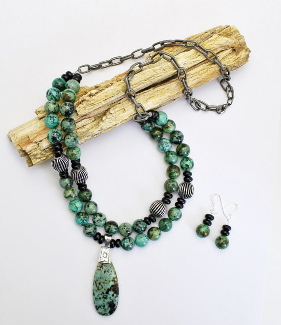 African Turquoise Necklace & Earrings, Turquoise Necklace