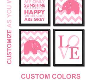 elephant nursery decor girl, elephant baby girl nursery, elephant baby girl gift, elephant girls room prints, elephant girls room art