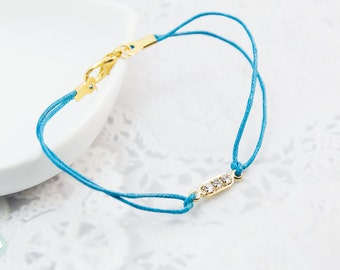 Gold tube bracelet, triple crystal charm, crystal charm, gold bracelet,charm bracelet, gold Bracelet with Colorful Cord for her, friendship