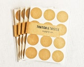 48 Kraft Brown Circle Stickers - 1 Inch Envelope Seals Labels Gift Wrapping Party Invitations Embellishment Pretty Packaging