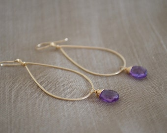 Purple Amethyst Teardrop Hoop Earrings, Gold Filled
