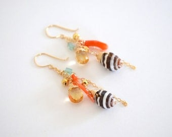 Shell, Peach Coral Branch, Citrine Gemstone Cluster Dangle Earrings, Gold Filled