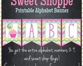 Sweet Shoppe Printable Banner - Printable Alphabet - Instant Download