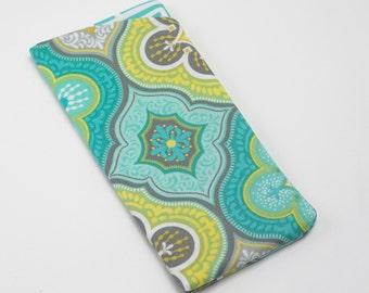 Sunglasses Case, Eyeglass Case, Glasses Case in Modern Lime and Aqua Print Fabric