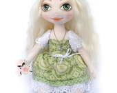 Blonde rag cloth fabric doll Helen with olive green eyes, OOAK