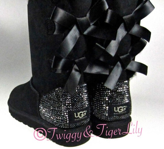 black sparkle uggs with bows