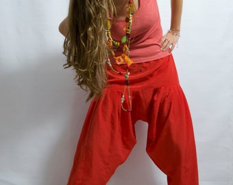 90'vintage women's salmon pink  Red Turkish  wear Pant Costum