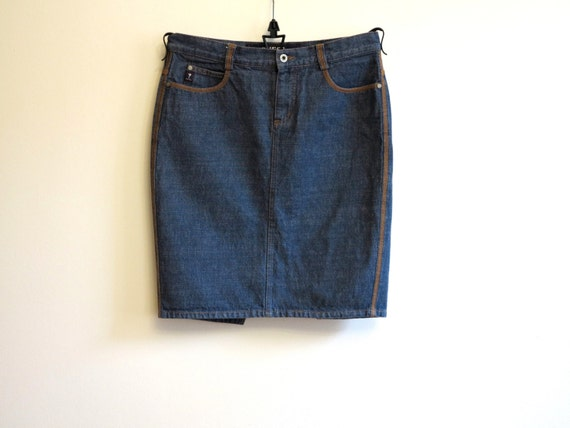 guess denim skirt blue high waisted mini by vintageoffer