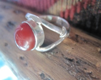 Vintage Carnelian and Sterling Ring Size 5.5