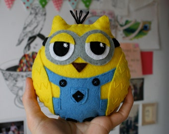 Mini Owl Minion - Handmade Felt Plush Toy