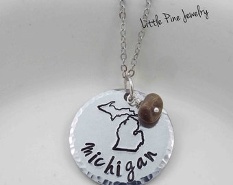 Michigan Necklace, Michigan Jewelry, Petoskey Stone, Love Michigan, State of Michigan Necklace, Michigan Pendant, Hand Stamped Necklace