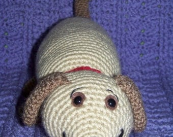 Stuffed dog-crochet, tan and brown