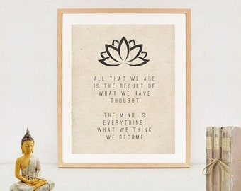 Spiritual Typography Wall Art Print - Buddha quotes - Digital download - Zen printable