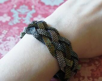 Braided Peyote Bracelet, Seed Bead Bracelet, Wide Delica Bracelet, Beaded Bracelet, Metallic Peyote Bracelet, Bead Woven Bracelet