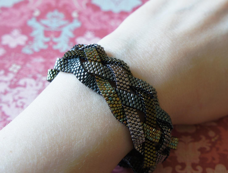 Braided Peyote Bracelet Seed Bead Bracelet Wide Delica