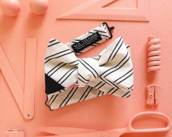 Marc Men's Bow tie - Stripe white/black with black tip
