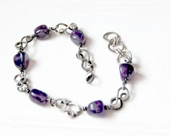 Amethyst bracelet, sterling silver, wire wrapped