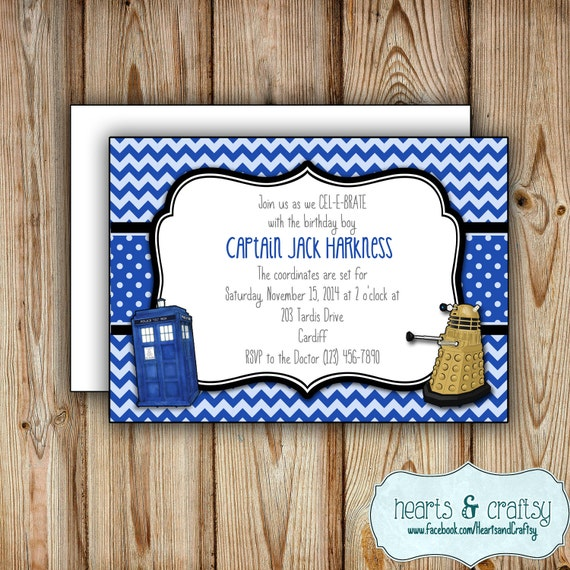 Personalized Printable Doctor Who Party Invitation Doctor Who