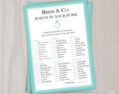 Bride & Co. Points in Your Purse Game, Bridal Shower Printable Game, Robin's Egg Blue, Wedding Shower, Bride and Co, What's In Your Purse