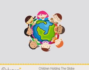 Children Holding The Globe Illustration