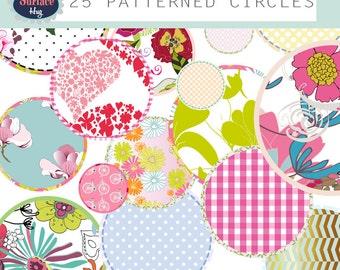 CLIP ART CIRCLES Floral circles clip art Patterned circle Frame Floral clipart Flower clip art Png Circles Sewing clip art Commercial Circle