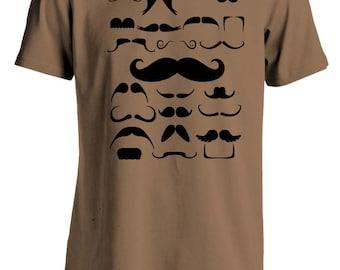 Mustache CollageT-Shirt Brown