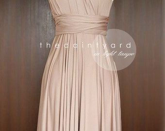 Light Taupe Bridesmaid Dress Convertible Dress Infinity Dress Multiway Dress Wrap Dress Wedding Dress Maid of Honor Dress Twist Dress