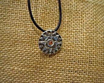Silver Aztec Sun/Compass Pendant
