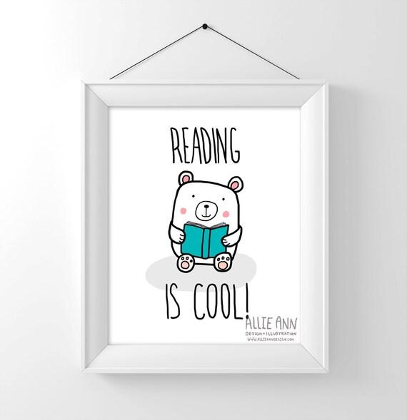 Reading Is Cool!, bear, art print, illustration, digital art, childrens art, kids art, bear art, book